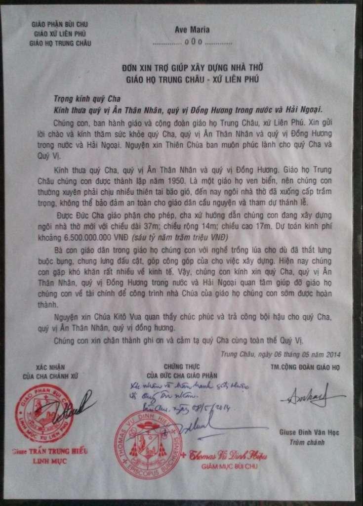 Đơn xin trợ giúp giáo họ chứng thực Đức Cha Thomas Vũ Đình Hiệu